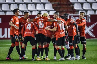 Mallorca players celebrate going 0-1 up