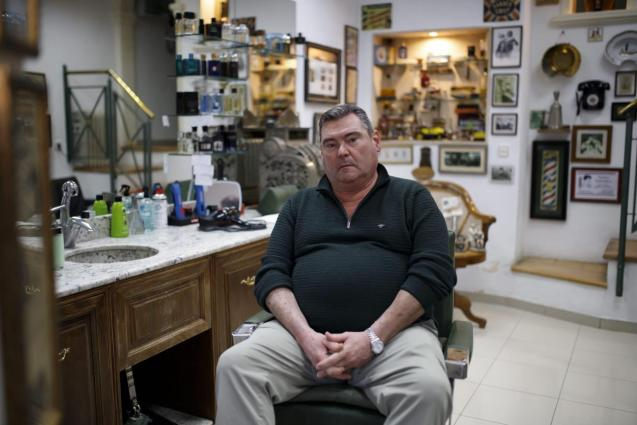 Tomeu Pericás in his Barbershop, Palma.