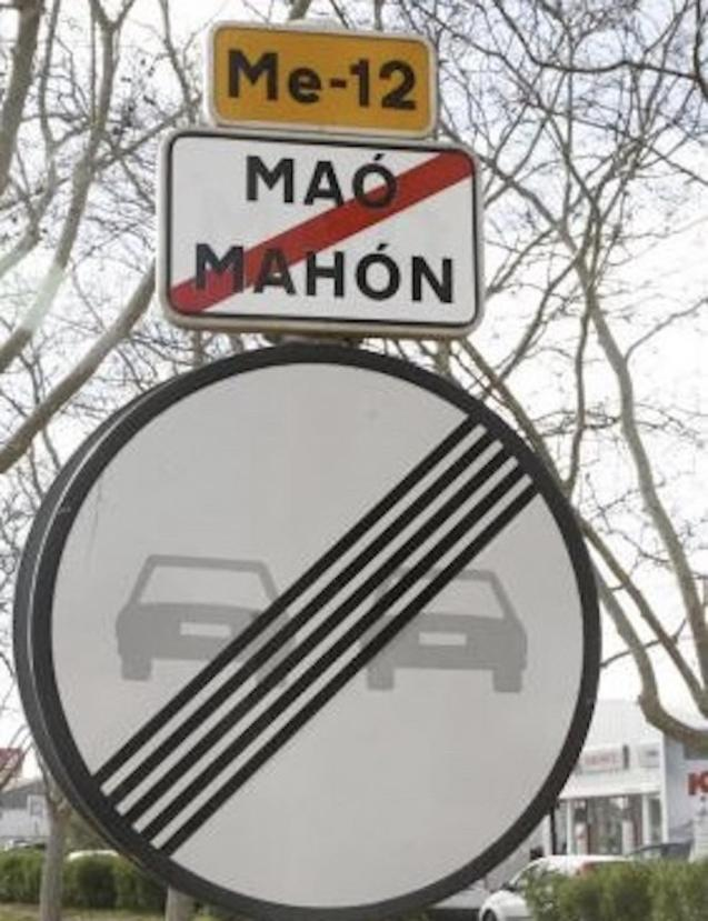 Maó-Mahón sign, Minorca.