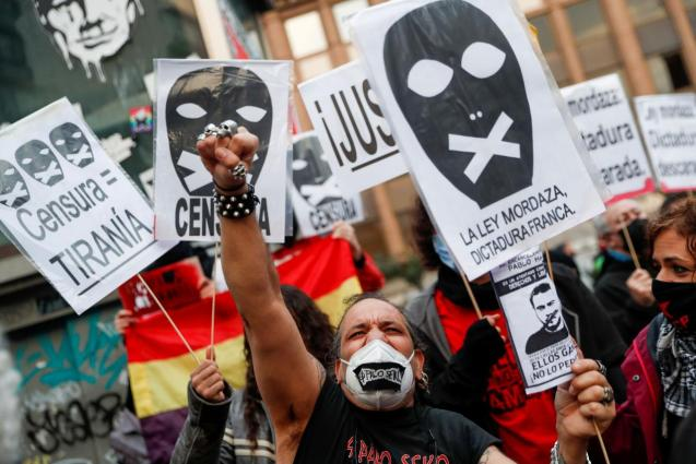 Supporters of Spanish rap singer Pablo Hasel protest in Madrid
