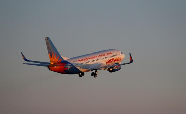 A Jet2 Boeing 737 airplane takes off from the airport.