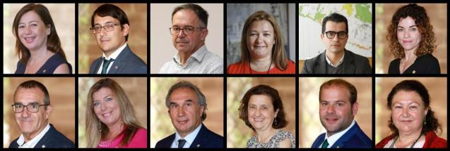 The Balearic government cabinet, as of February 15, 2021.