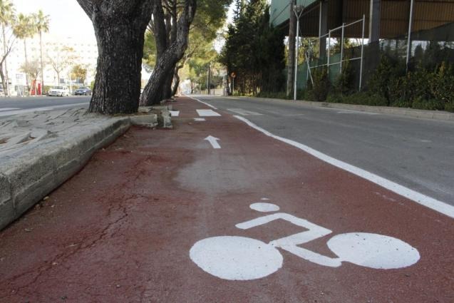 The new cycle lane in the bay of Alcúdia