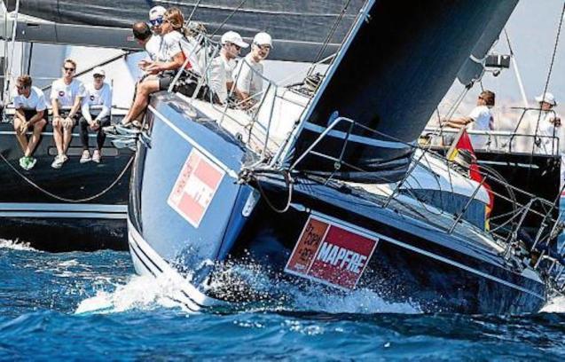 King Felipe VI & crew aboard 'Swan 50 Club' racing yacht.