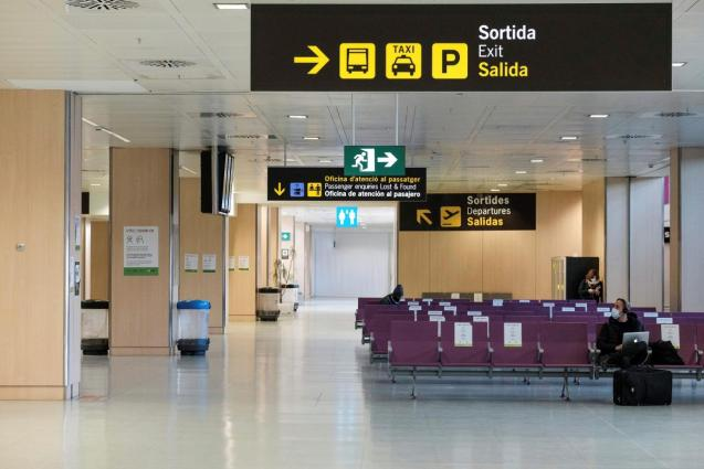 View of Ibiza airport half empty