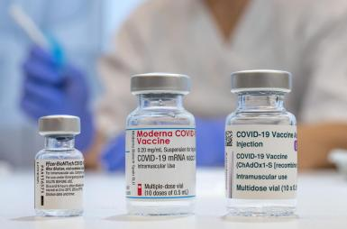 Used vaccine ampoules that contained Pfizer-BioNTech, Moderna and AstraZeneca Covid-19 Vaccines