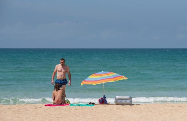 German tourists on Playa de Palma beach