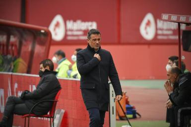 Mallorca's coach Luis Garcia Plaza paces his technical area.