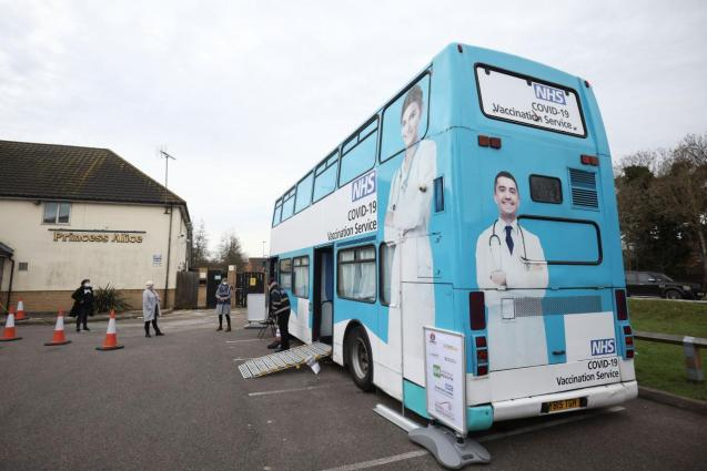 An NHS vaccination bus