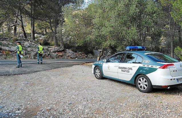 A Guardia Civil traffic control in the Tramuntana Mountains, Mallorca