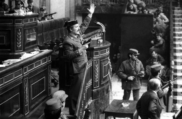 Some 200 Guardia Civil officers led by Lieutenant-Colonel Antonio Tejero burst into Congress
