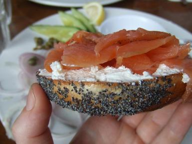 With a smoked salmon topping it soon became the favourite Jewish way of eating a bagel.