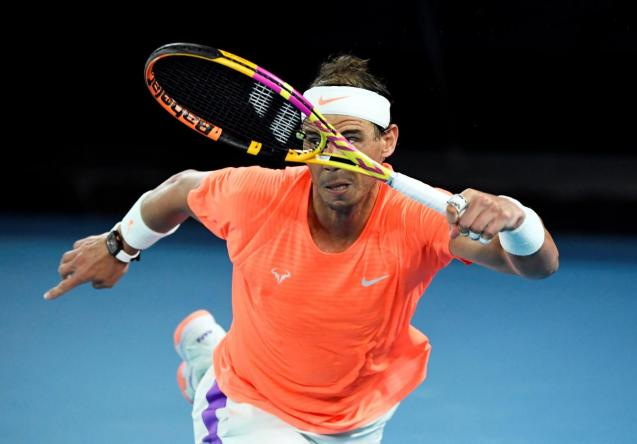 Spain's Rafael Nadal in action during his quarter final match against Greece's Stefanos Tsitsipas