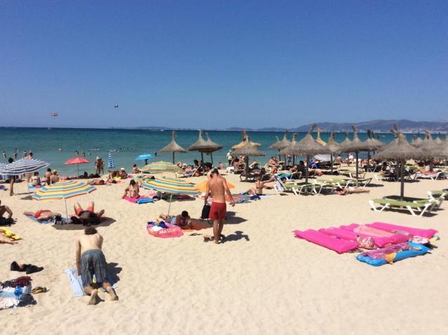 Tourists on the beach on Mallorca