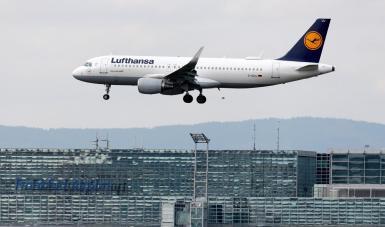 An aircraft from German flag carrier Lufthansa lands at the international airport in Frankfurt.