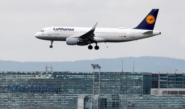 An aircraft from German flag carrier Lufthansa lands at the international airport in Frankfurt