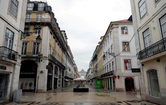 Augusta street is pictured during partial lockdown as part of state of emergency to combat the coronavirus disease (COVID-19) outbreak in Lisbon