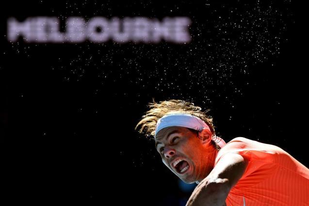 Rafa Nadal vs Laslo Dere in the Australia Open in February, 2021