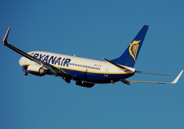Ryanair aircraft flying to Ibiza