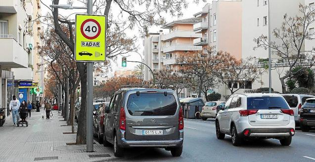 Speed radar in Palma, Mallorca