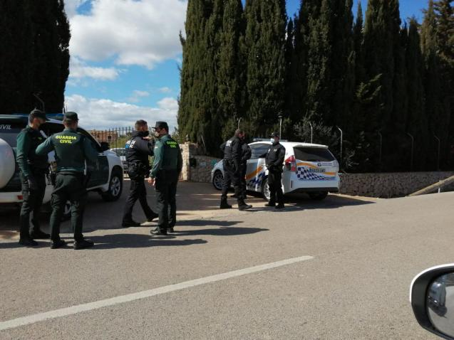 Police at the scene of an illegal party in Mallorca