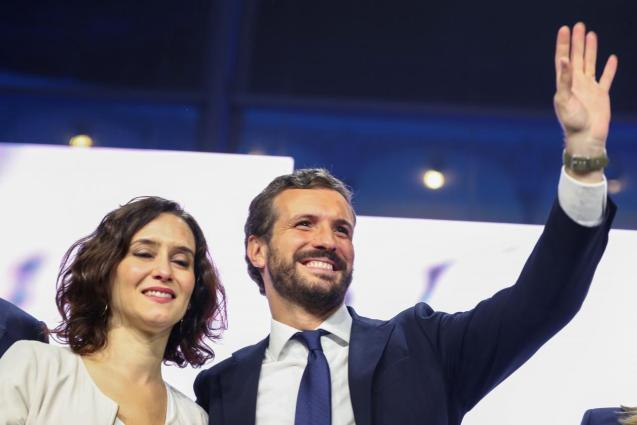 Spain's People's Party (PP) leader Pablo Casado attends a campaign closing rally ahead of general election, in Madrid