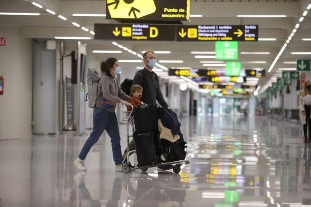 Tourists landing at Palma airport