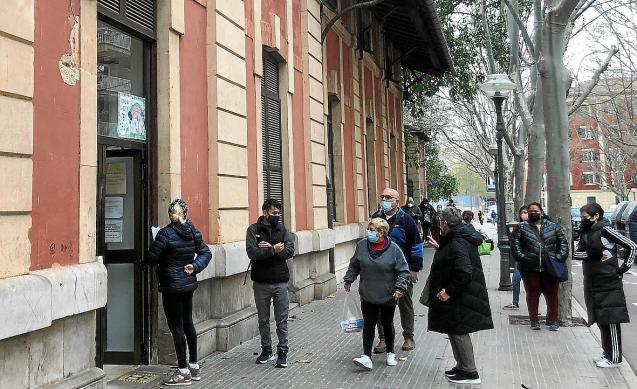 Patients outside a health centre in Palma, Mallorca