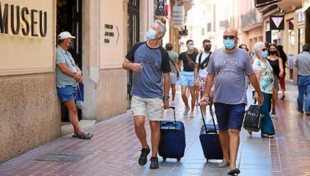 Tourists in Palma, Mallorca.