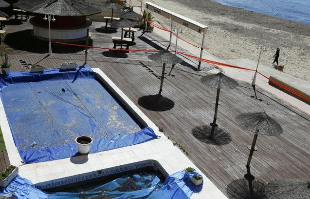 General view of a closed hotel and terrace bar in Magalluf beach