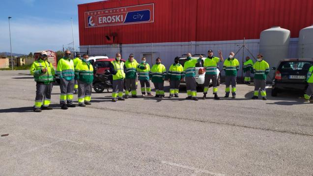 Waste collection and street cleaning workers in Alcudia, Mallorca