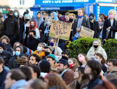 Protesters stage a sit-down protest during the 'Kill The Bill' protest against the Government's Police, Crime, Sentencing and Courts Bill, in Bristol.