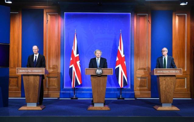 Boris Johnson speaking on Monday