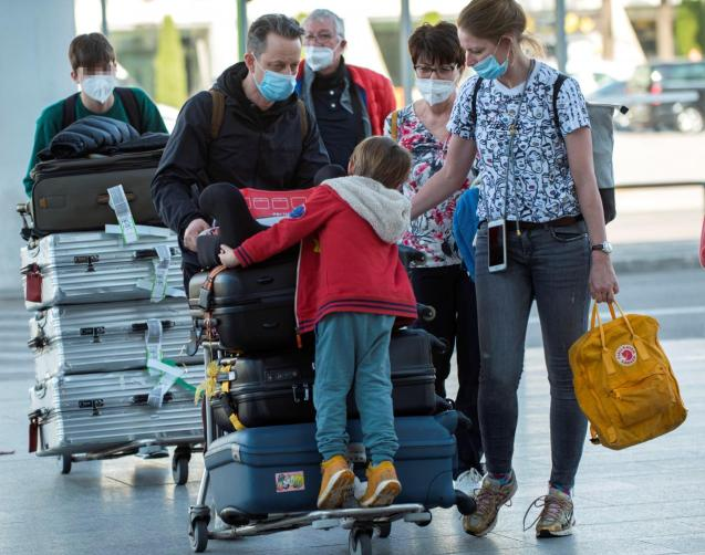 Arrival of flights from Germany at Palma airport