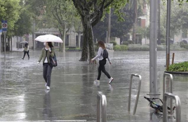 Rain in Palma, Mallorca.