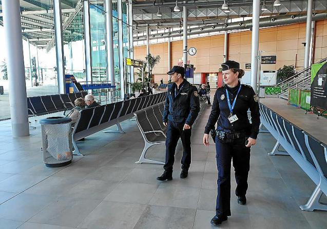 National Police officers at Palma Airport