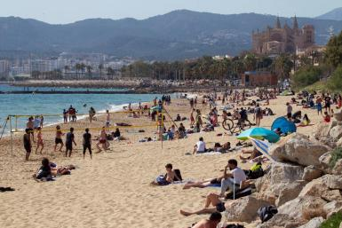 People on the beach in Palma.