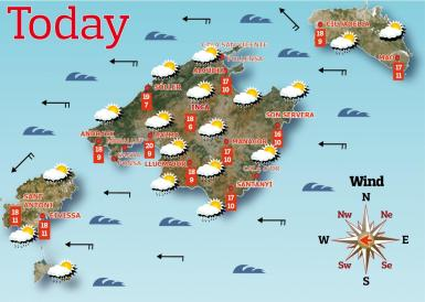 Friday, April 9th weather forecast on the Balearic Islands.