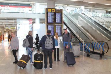 Tourists at Palma airport.