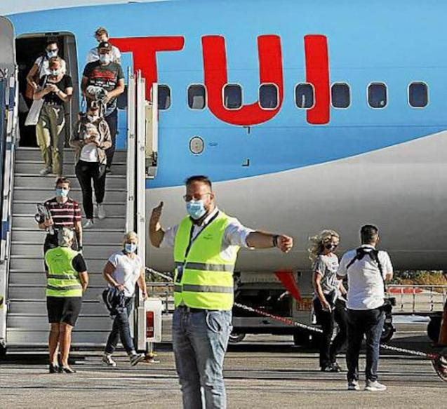 German tourists arriving in Mallorca.