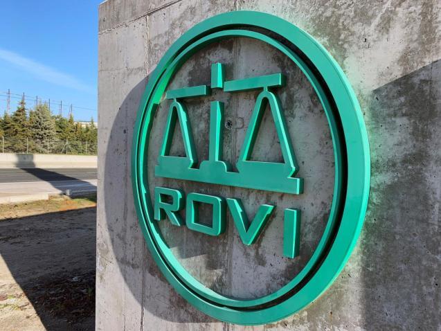 The logo of Spanish pharmaceutical firm Rovi