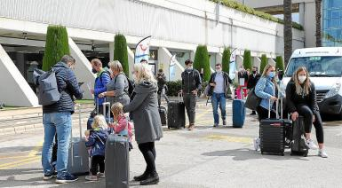 German tourists at Palma Airport. recent photo.