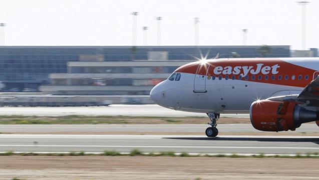 EasyJet airliner lands at Son Sant Joan airport in Palma de Mallorca