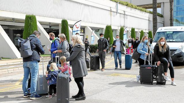 German tourists arriving at Palma Airport, Mallorca