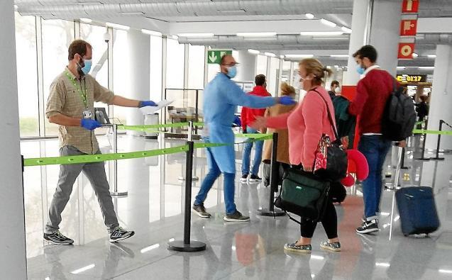 Controls of passengers at Palma Son Sant Joan Airport, Mallorca