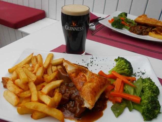 The steak pie was made and eaten with Guinness