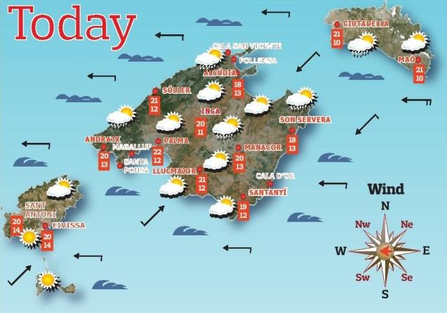 Weather forecast for the Balearic Islands for Tuesday, May 4