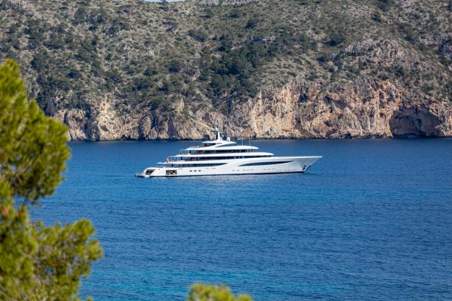 Superyacht Faith is seen in Camp de Mar