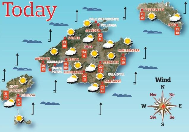 Weather forecast for the Balearic Islands for Wednesday, May 5