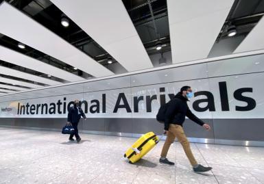 ravellers at Heathrow Airport, London.